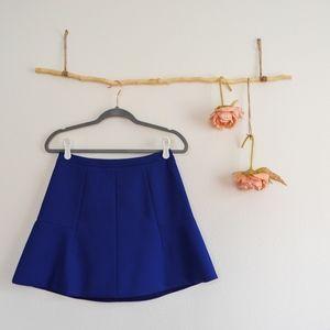 J. Crew Mini Blue fluted A-line Skirt Sz 2